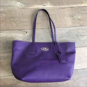Coach purple leather tote hand bag